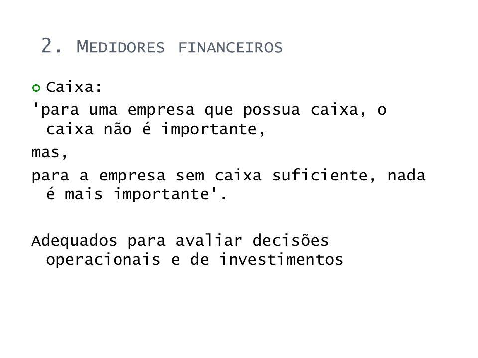 2. M EDIDORES FINANCEIROS Caixa: 'para uma empresa que possua caixa, o caixa não é importante, mas, para a empresa sem caixa suficiente, nada é mais i