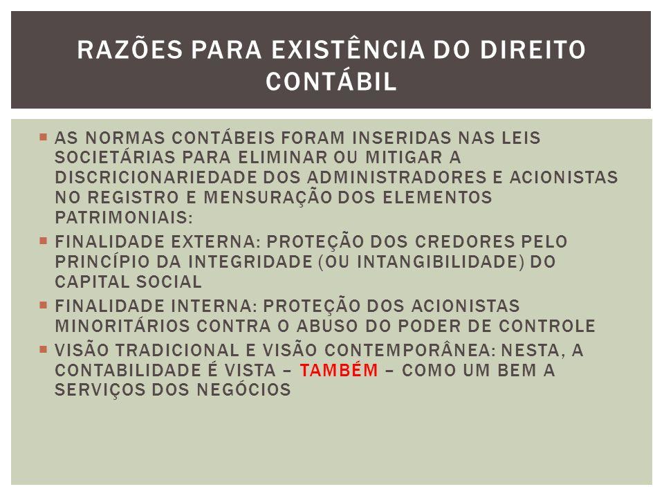 AS NORMAS CONTÁBEIS FORAM INSERIDAS NAS LEIS SOCIETÁRIAS PARA ELIMINAR OU MITIGAR A DISCRICIONARIEDADE DOS ADMINISTRADORES E ACIONISTAS NO REGISTRO E MENSURAÇÃO DOS ELEMENTOS PATRIMONIAIS: FINALIDADE EXTERNA: PROTEÇÃO DOS CREDORES PELO PRINCÍPIO DA INTEGRIDADE (OU INTANGIBILIDADE) DO CAPITAL SOCIAL FINALIDADE INTERNA: PROTEÇÃO DOS ACIONISTAS MINORITÁRIOS CONTRA O ABUSO DO PODER DE CONTROLE VISÃO TRADICIONAL E VISÃO CONTEMPORÂNEA: NESTA, A CONTABILIDADE É VISTA – TAMBÉM – COMO UM BEM A SERVIÇOS DOS NEGÓCIOS RAZÕES PARA EXISTÊNCIA DO DIREITO CONTÁBIL