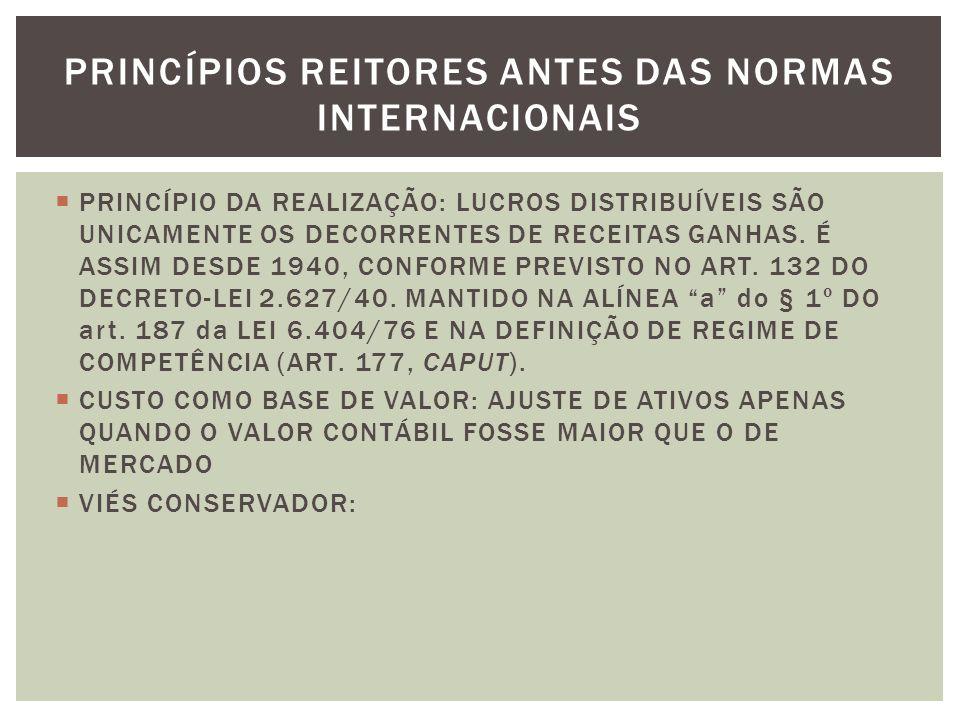 PRINCÍPIO DA REALIZAÇÃO: LUCROS DISTRIBUÍVEIS SÃO UNICAMENTE OS DECORRENTES DE RECEITAS GANHAS.