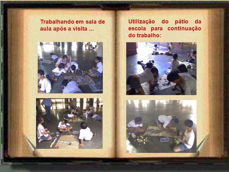 Utilização do pátio da escola para continuação do trabalho: