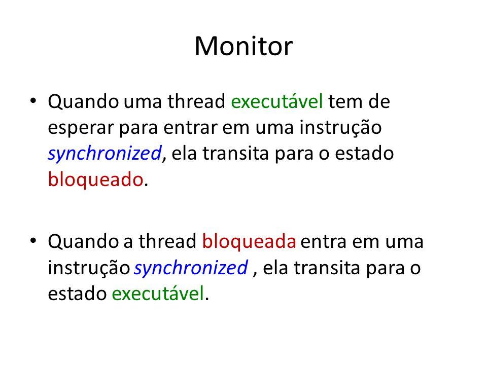 Monitor Quando uma thread executável tem de esperar para entrar em uma instrução synchronized, ela transita para o estado bloqueado. Quando a thread b