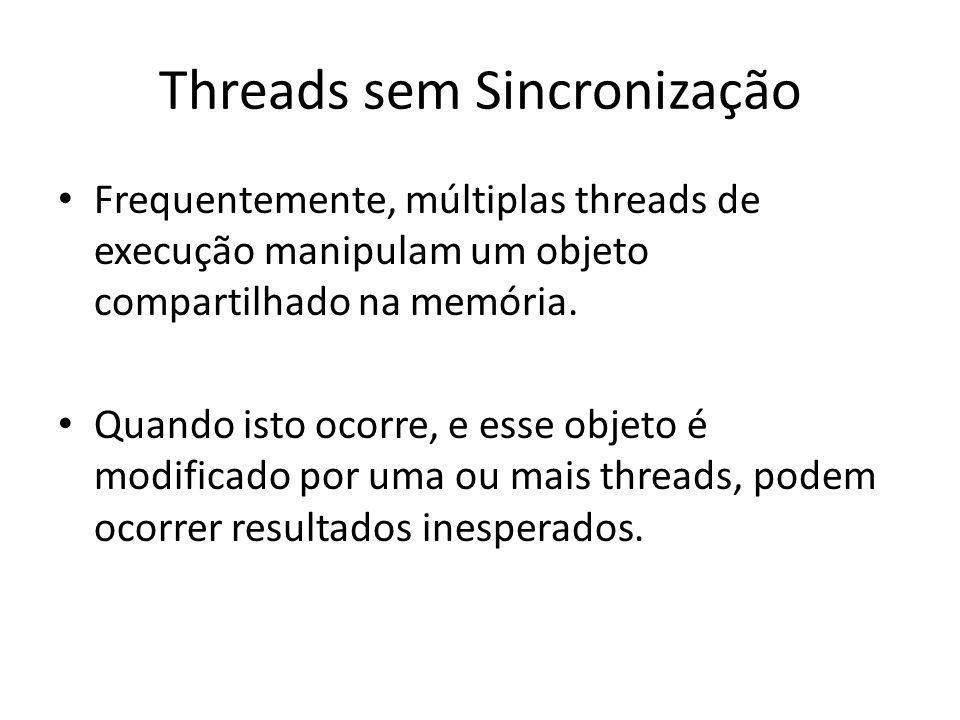 Frequentemente, múltiplas threads de execução manipulam um objeto compartilhado na memória. Quando isto ocorre, e esse objeto é modificado por uma ou