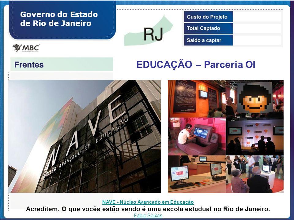 Governo do Estado de Rio de Janeiro EDUCAÇÃO – Parceria OI NAVE - Núcleo Avançado em Educação Acreditem. O que vocês estão vendo é uma escola estadual