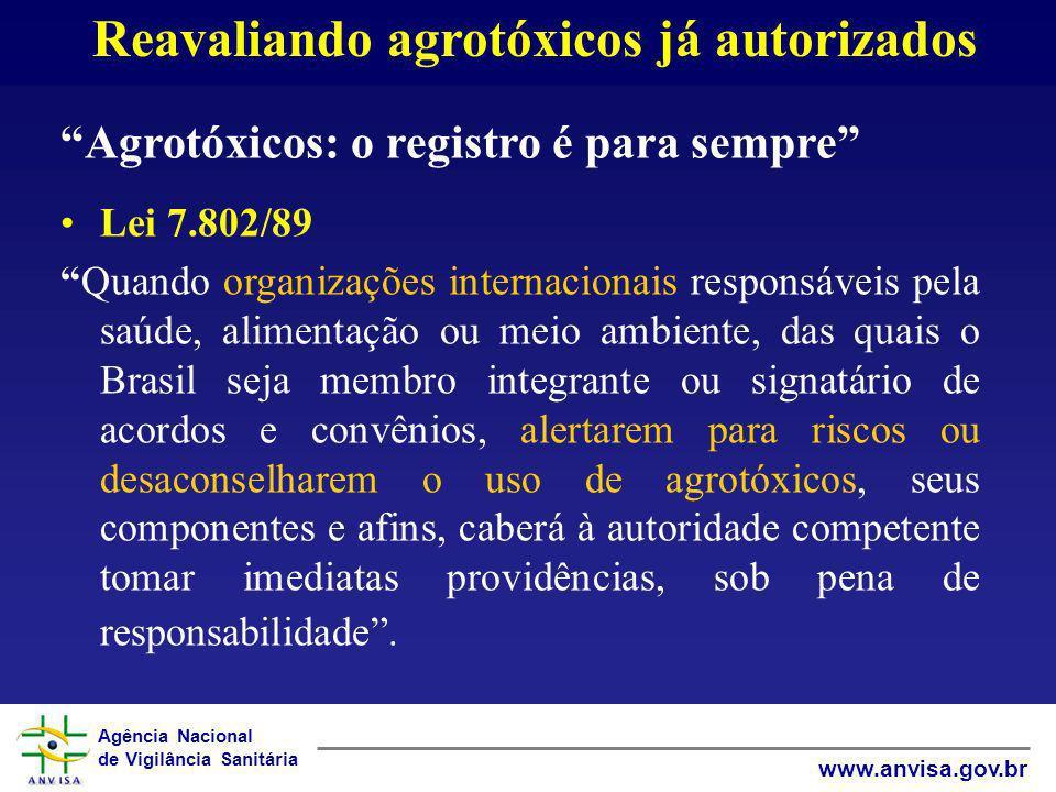 Agência Nacional de Vigilância Sanitária www.anvisa.gov.br Reavaliando agrotóxicos já autorizados Agrotóxicos: o registro é para sempre Lei 7.802/89 Q