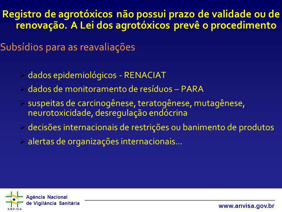 Agência Nacional de Vigilância Sanitária www.anvisa.gov.br Registro de agrotóxicos não possui prazo de validade ou de renovação. A Lei dos agrotóxicos