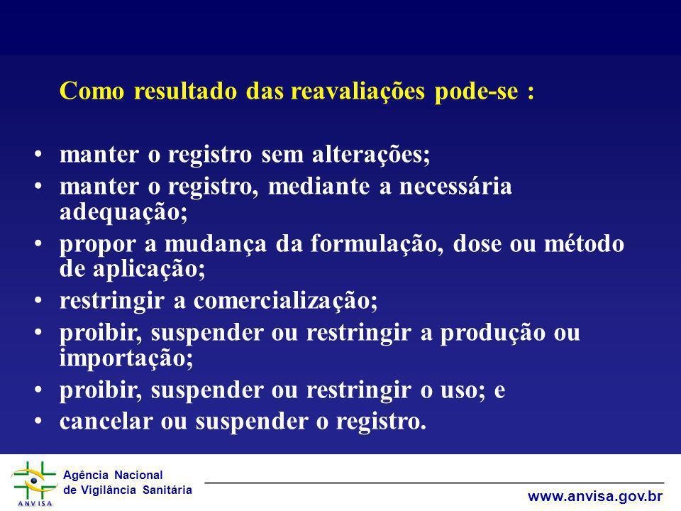 Agência Nacional de Vigilância Sanitária www.anvisa.gov.br Como resultado das reavaliações pode-se : manter o registro sem alterações; manter o regist