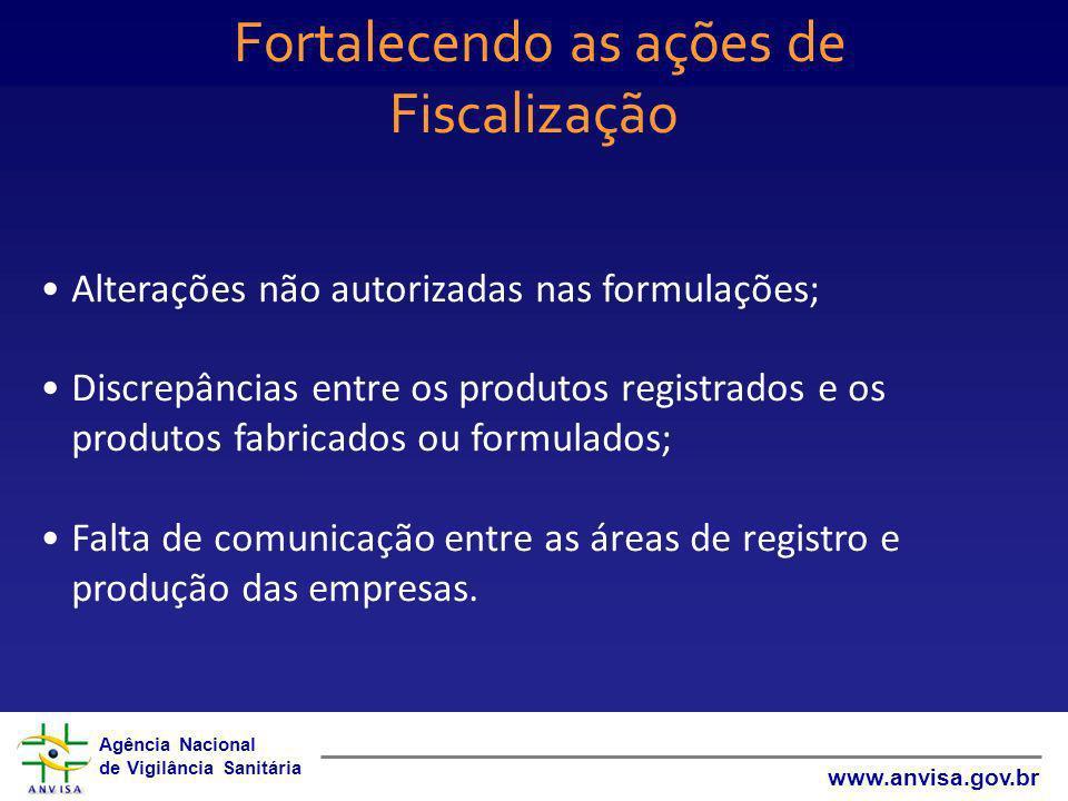 Agência Nacional de Vigilância Sanitária www.anvisa.gov.br Fortalecendo as ações de Fiscalização Alterações não autorizadas nas formulações; Discrepân