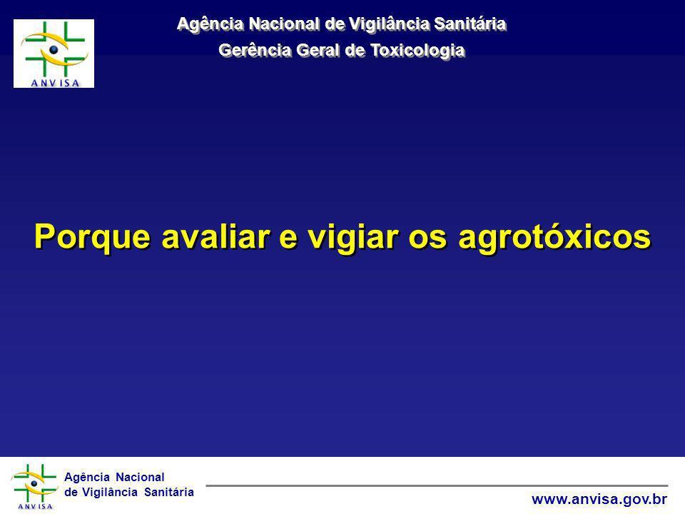 Agência Nacional de Vigilância Sanitária www.anvisa.gov.br Porque avaliar e vigiar os agrotóxicos Agência Nacional de Vigilância Sanitária Gerência Ge