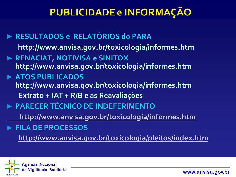 Agência Nacional de Vigilância Sanitária www.anvisa.gov.br RESULTADOS e RELATÓRIOS do PARA RESULTADOS e RELATÓRIOS do PARA http://www.anvisa.gov.br/to