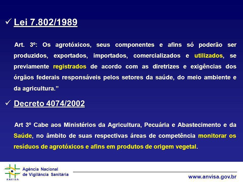 Agência Nacional de Vigilância Sanitária www.anvisa.gov.br Lei 7.802/1989 Lei 7.802/1989 Art. 3º: Os agrotóxicos, seus componentes e afins só poderão