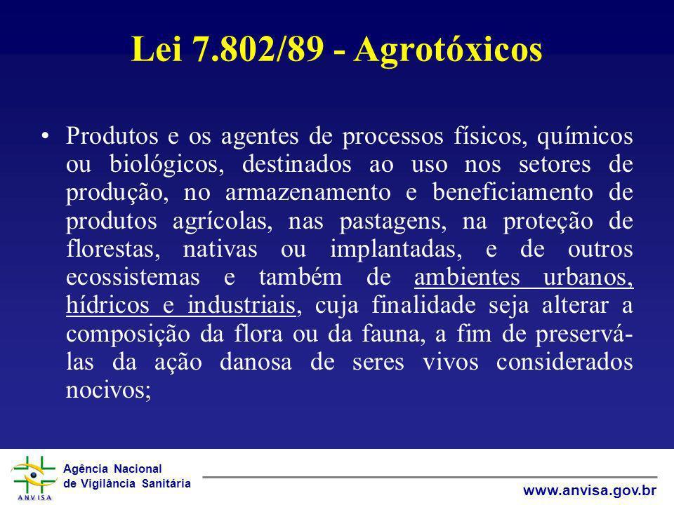 Agência Nacional de Vigilância Sanitária www.anvisa.gov.br Lei 7.802/89 - Agrotóxicos Produtos e os agentes de processos físicos, químicos ou biológic