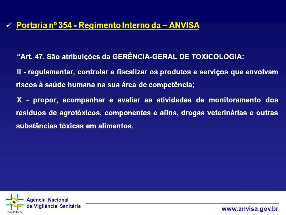 Agência Nacional de Vigilância Sanitária www.anvisa.gov.br Portaria nº 354 - Regimento Interno da – ANVISA Portaria nº 354 - Regimento Interno da – AN