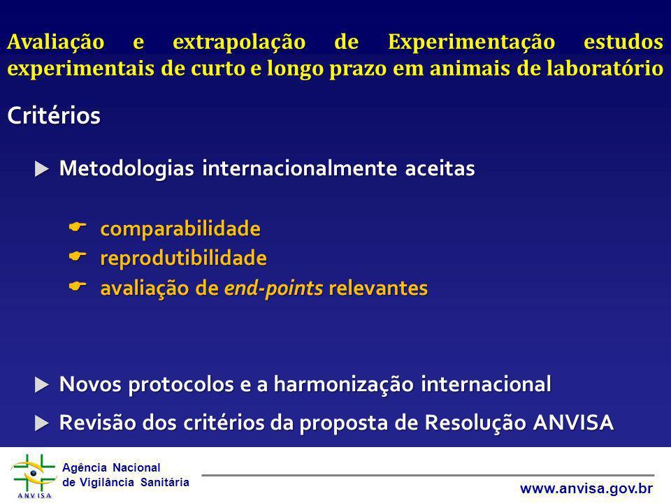 Agência Nacional de Vigilância Sanitária www.anvisa.gov.br Metodologias internacionalmente aceitas Metodologias internacionalmente aceitas comparabili