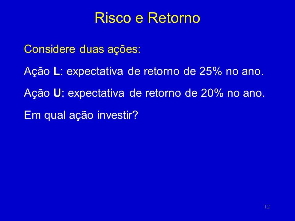12 Risco e Retorno Considere duas ações: L Ação L: expectativa de retorno de 25% no ano. U Ação U: expectativa de retorno de 20% no ano. Em qual ação