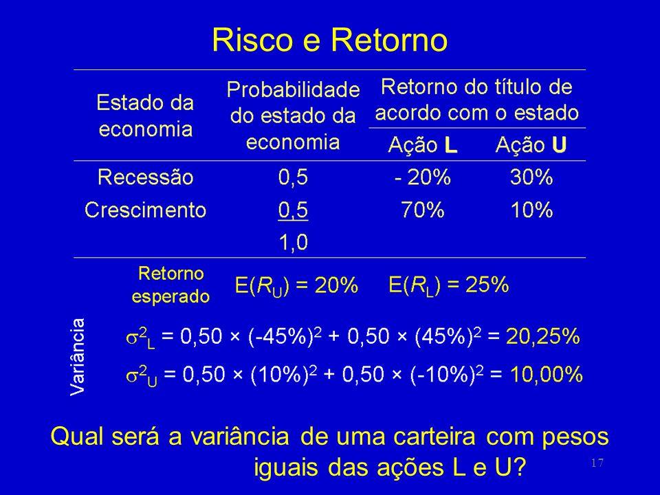 17 Risco e Retorno Qual será a variância de uma carteira com pesos iguais das ações L e U?