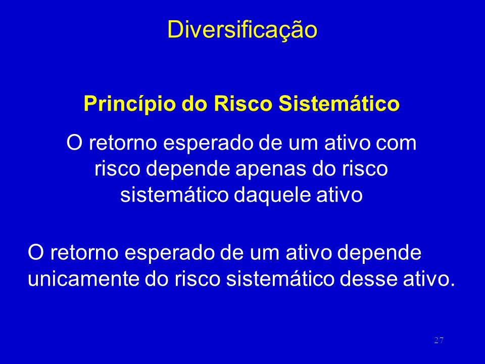 27 Diversificação Princípio do Risco Sistemático O retorno esperado de um ativo com risco depende apenas do risco sistemático daquele ativo O retorno esperado de um ativo depende unicamente do risco sistemático desse ativo.