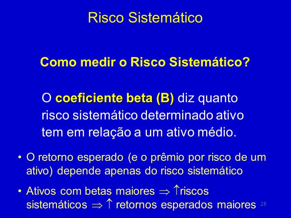 28 Risco Sistemático Como medir o Risco Sistemático? coeficiente beta (B) O coeficiente beta (B) diz quanto risco sistemático determinado ativo tem em