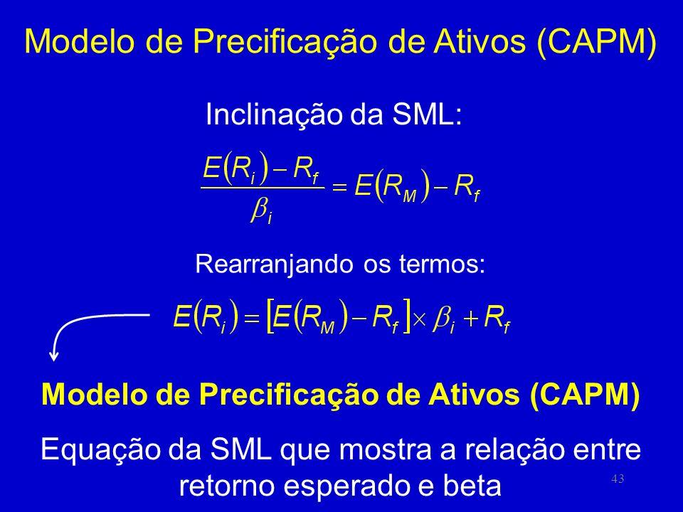 43 Modelo de Precificação de Ativos (CAPM) Inclinação da SML: Rearranjando os termos: Modelo de Precificação de Ativos (CAPM) Equação da SML que mostra a relação entre retorno esperado e beta