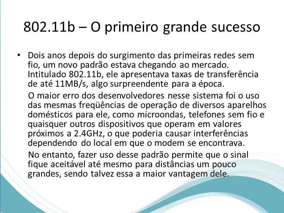 802.11b – O primeiro grande sucesso Dois anos depois do surgimento das primeiras redes sem fio, um novo padrão estava chegando ao mercado. Intitulado