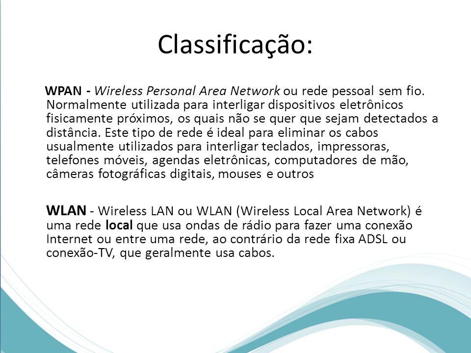 Classificação: WPAN - Wireless Personal Area Network ou rede pessoal sem fio. Normalmente utilizada para interligar dispositivos eletrônicos fisicamen