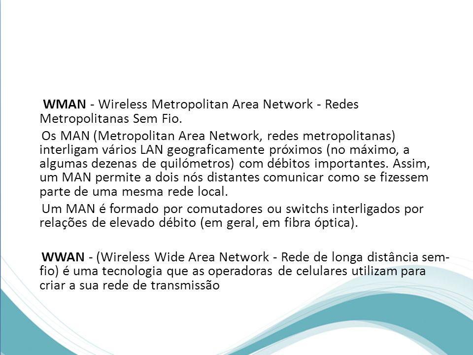 WMAN - Wireless Metropolitan Area Network - Redes Metropolitanas Sem Fio. Os MAN (Metropolitan Area Network, redes metropolitanas) interligam vários L