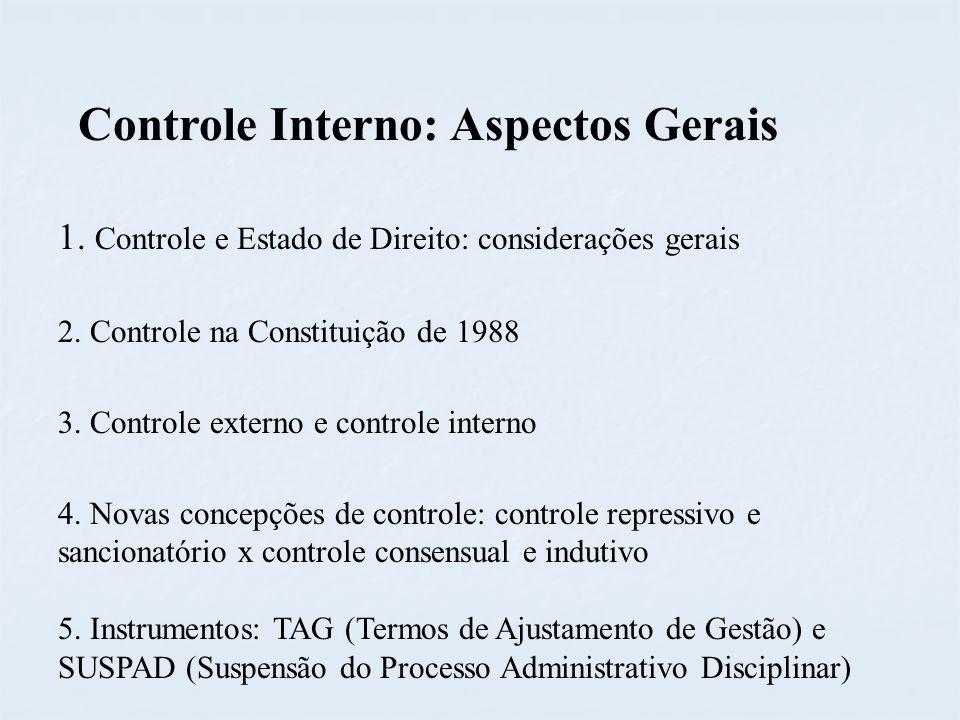 1. Controle e Estado de Direito: considerações gerais 2. Controle na Constituição de 1988 3. Controle externo e controle interno 4. Novas concepções d