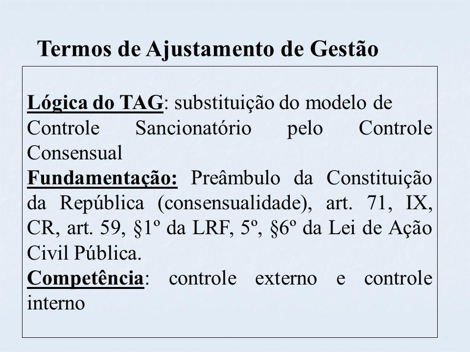 Termos de Ajustamento de Gestão Lógica do TAG: substituição do modelo de Controle Sancionatório pelo Controle Consensual Fundamentação: Preâmbulo da C
