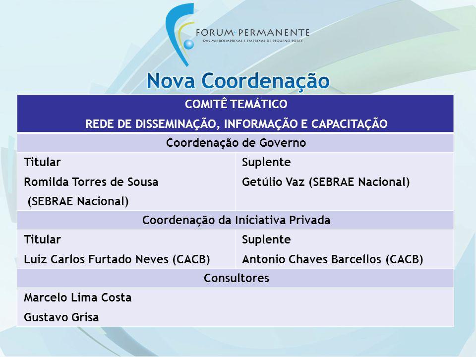 COMITÊ TEMÁTICO REDE DE DISSEMINAÇÃO, INFORMAÇÃO E CAPACITAÇÃO Coordenação de Governo Titular Romilda Torres de Sousa (SEBRAE Nacional) Suplente Getúl
