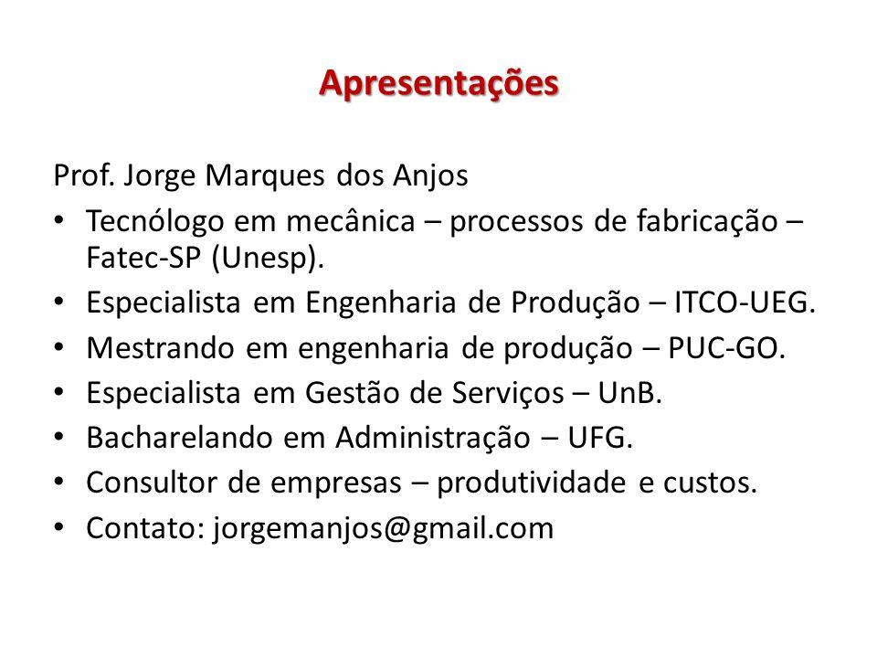 Apresentações Prof. Jorge Marques dos Anjos Tecnólogo em mecânica – processos de fabricação – Fatec-SP (Unesp). Especialista em Engenharia de Produção