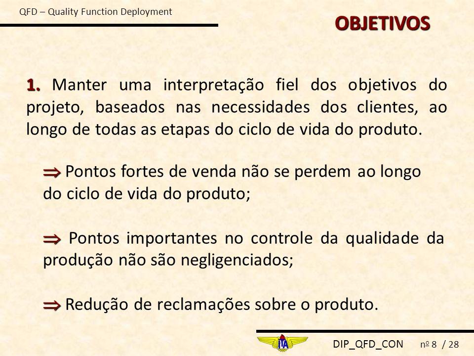 DIP_QFD_CON n o 8 / 28 OBJETIVOS 1. 1. Manter uma interpretação fiel dos objetivos do projeto, baseados nas necessidades dos clientes, ao longo de tod