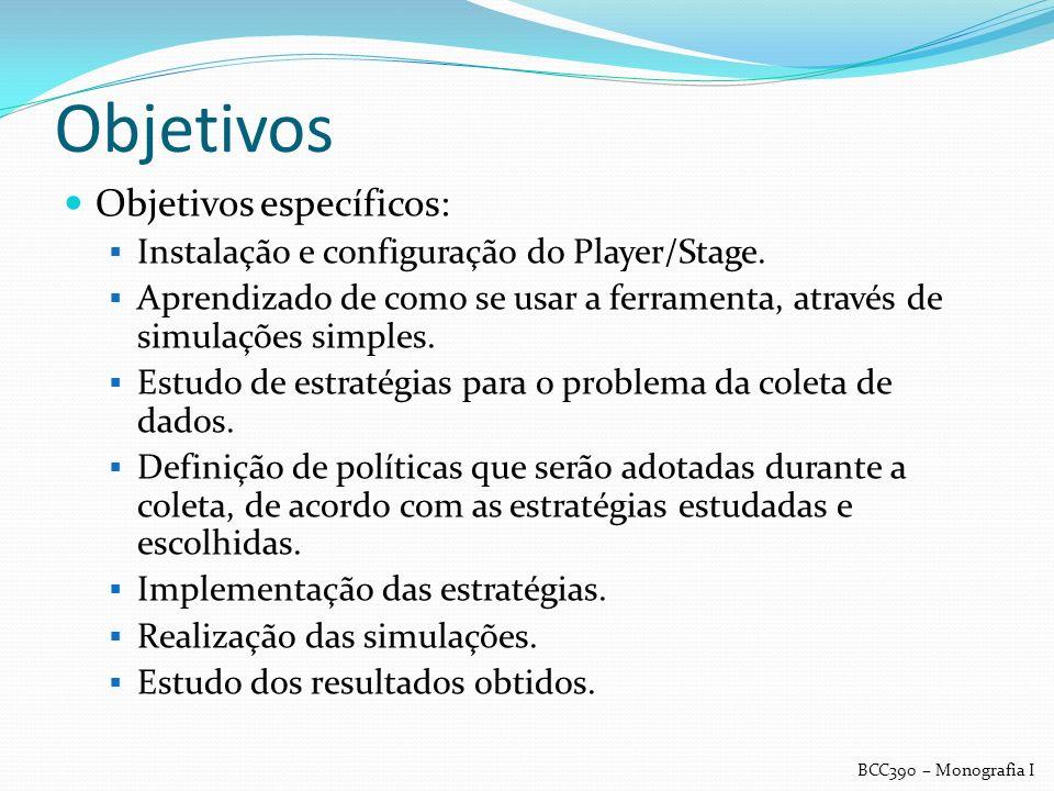 Objetivos Objetivos específicos: Instalação e configuração do Player/Stage. Aprendizado de como se usar a ferramenta, através de simulações simples. E