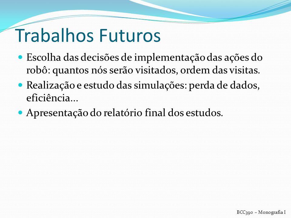 Trabalhos Futuros Escolha das decisões de implementação das ações do robô: quantos nós serão visitados, ordem das visitas. Realização e estudo das sim