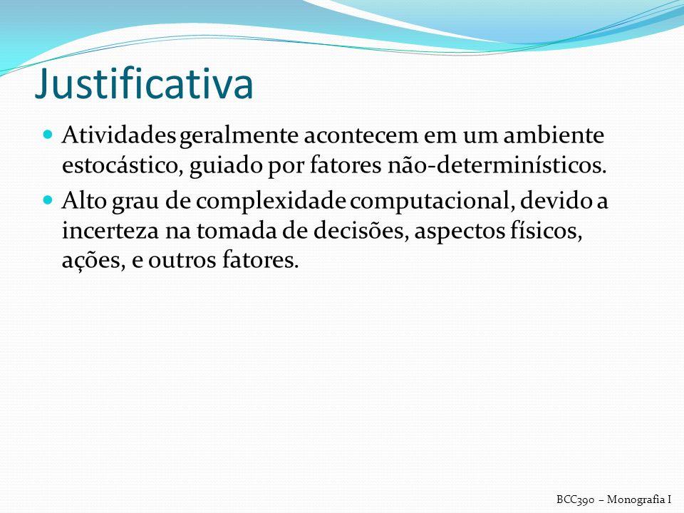 Justificativa Atividades geralmente acontecem em um ambiente estocástico, guiado por fatores não-determinísticos. Alto grau de complexidade computacio
