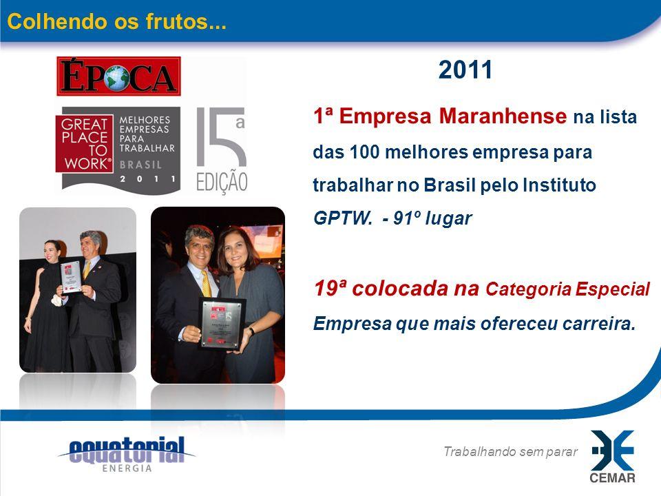 Trabalhando sem parar 15 Colhendo os frutos... 1ª Empresa Maranhense na lista das 100 melhores empresa para trabalhar no Brasil pelo Instituto GPTW. -