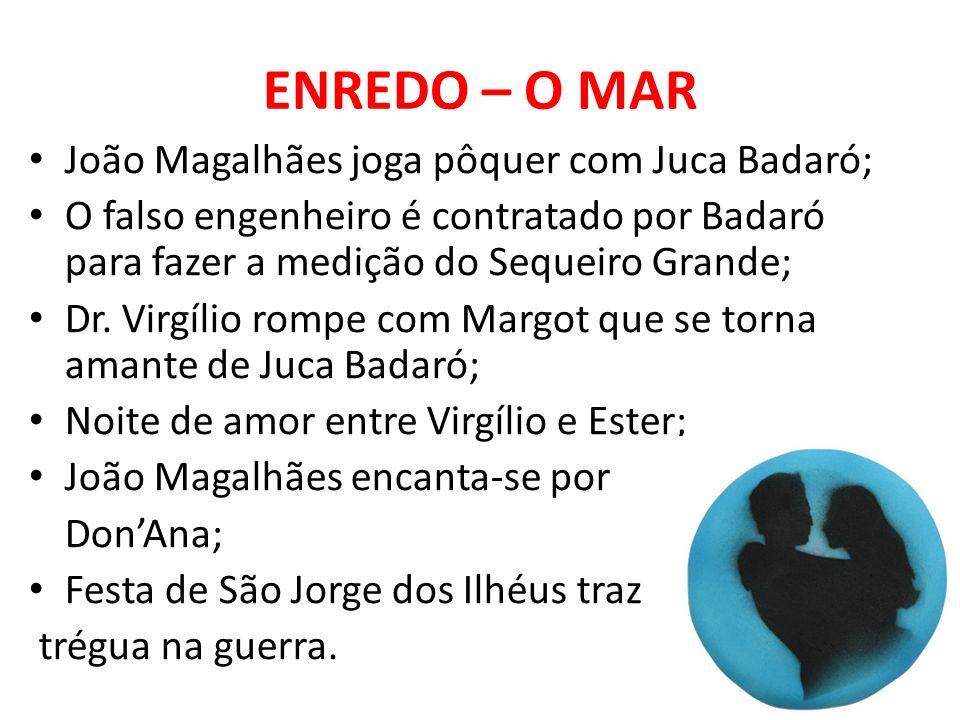 ENREDO – O MAR João Magalhães joga pôquer com Juca Badaró; O falso engenheiro é contratado por Badaró para fazer a medição do Sequeiro Grande; Dr. Vir