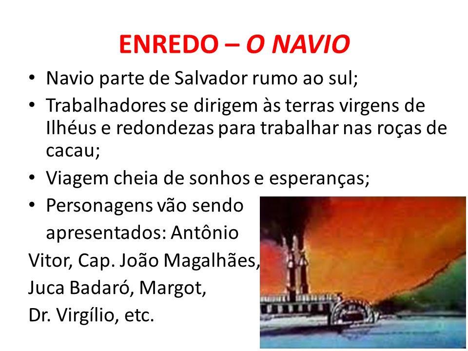 ENREDO – O NAVIO Navio parte de Salvador rumo ao sul; Trabalhadores se dirigem às terras virgens de Ilhéus e redondezas para trabalhar nas roças de ca