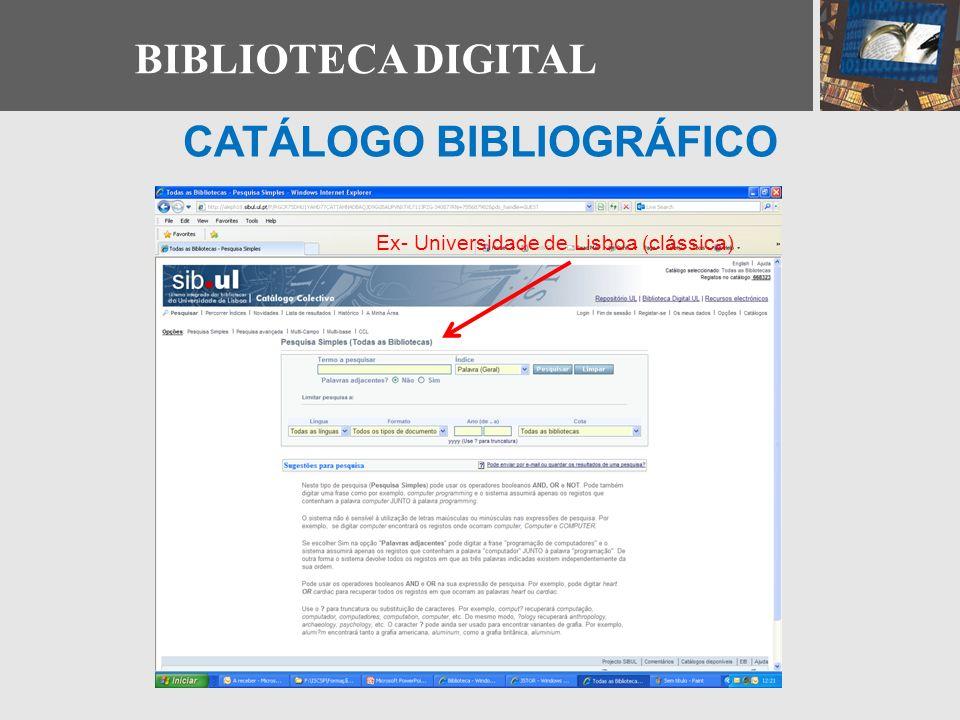 CATÁLOGO BIBLIOGRÁFICO Ex- Universidade de Lisboa (clássica)