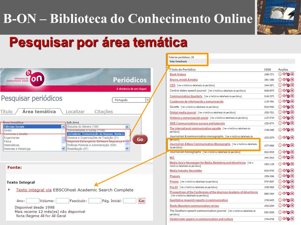 Pesquisar por área temática B-ON – Biblioteca do Conhecimento Online