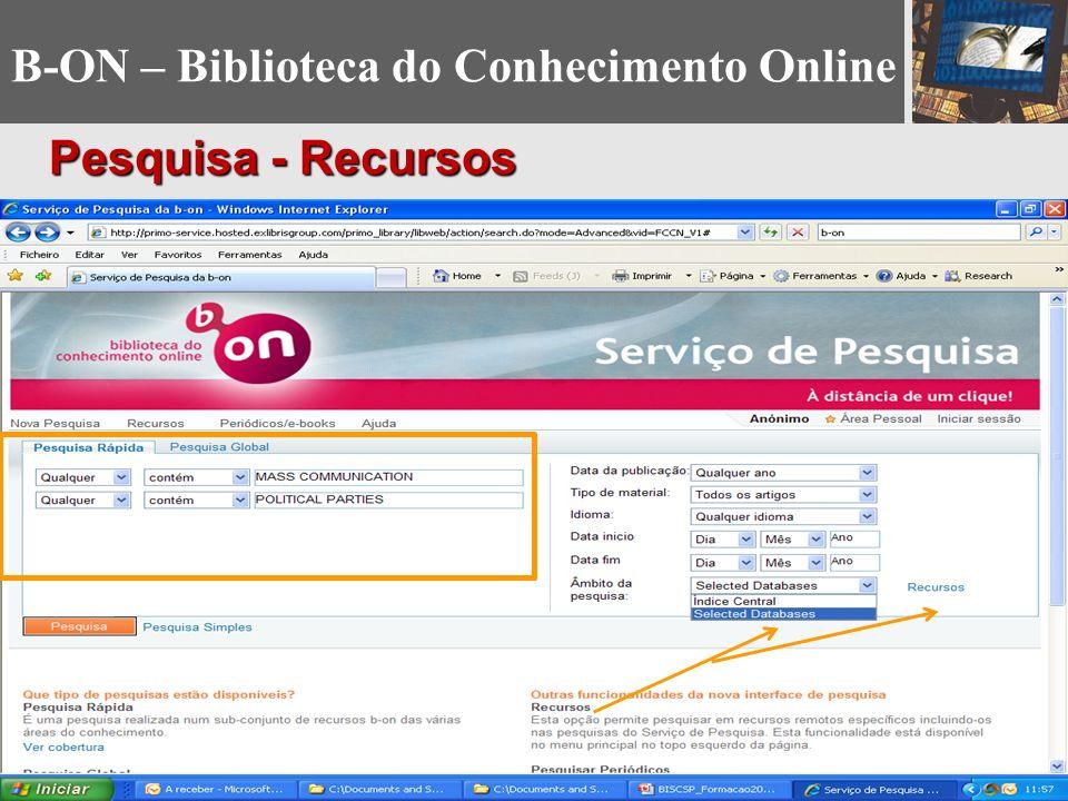 B-ON – Biblioteca do Conhecimento Online Pesquisa - Recursos