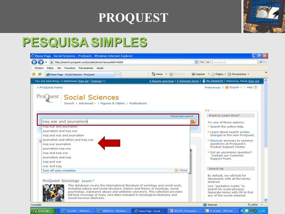 PROQUEST PESQUISA SIMPLES