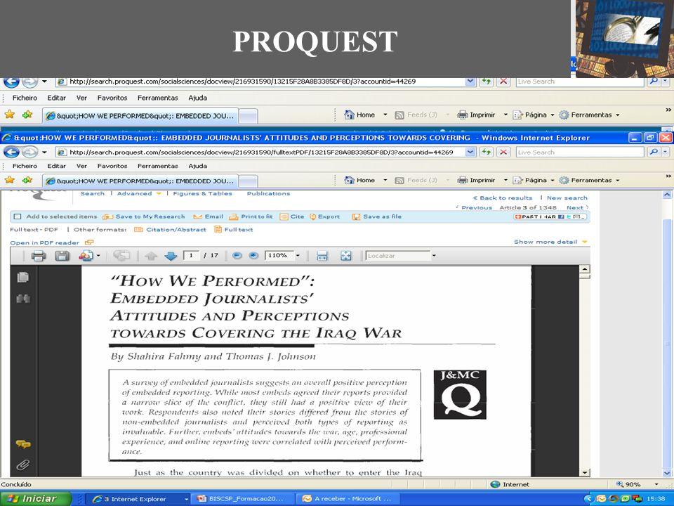 PROQUEST Links para as redes sociais Guardar E-mail Citar Ligação à B-ON Abrir PDF Citação
