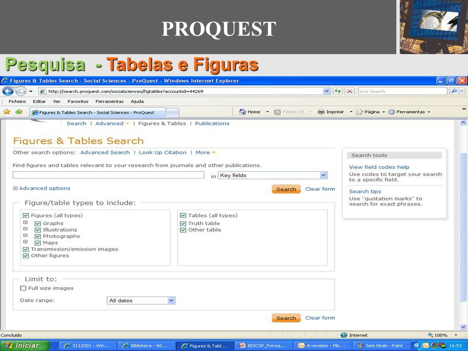 PROQUEST Pesquisa - Tabelas e Figuras