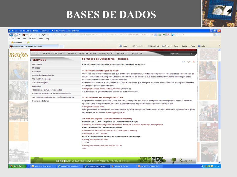 - Documentos - Figuras e Tabelas - Alertas - RSS Feeds - Tags. Widgets - Gerir a conta