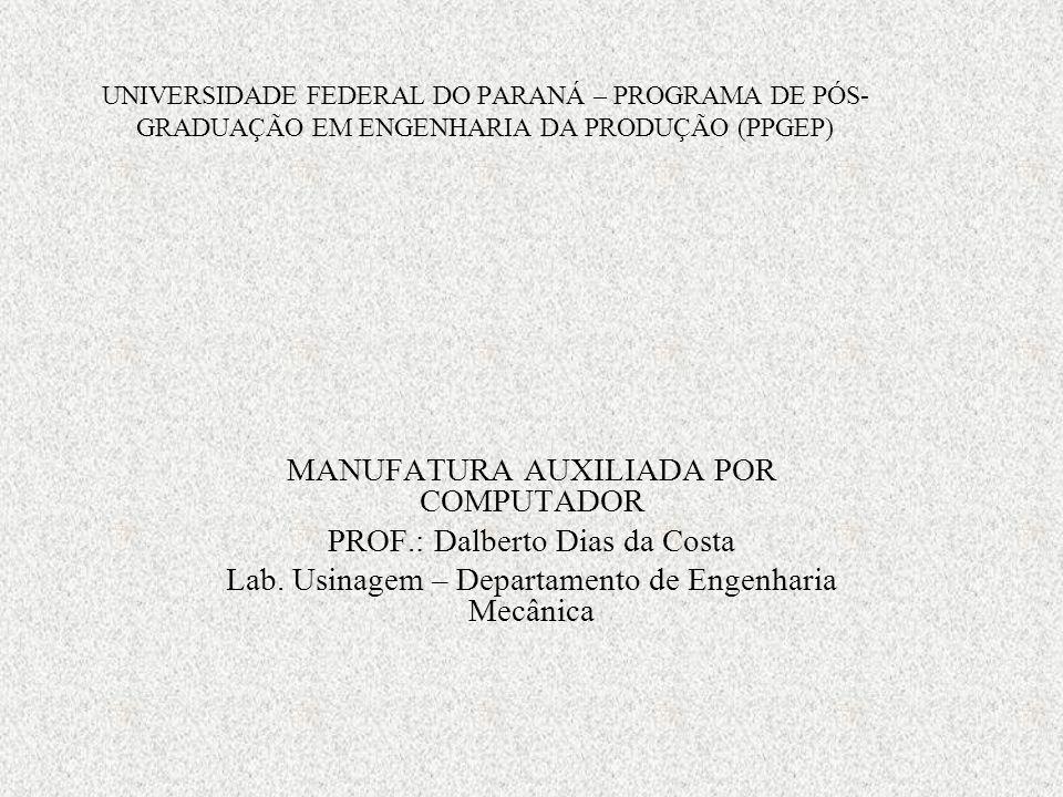 UNIVERSIDADE FEDERAL DO PARANÁ – PROGRAMA DE PÓS- GRADUAÇÃO EM ENGENHARIA DA PRODUÇÃO (PPGEP) MANUFATURA AUXILIADA POR COMPUTADOR PROF.: Dalberto Dias