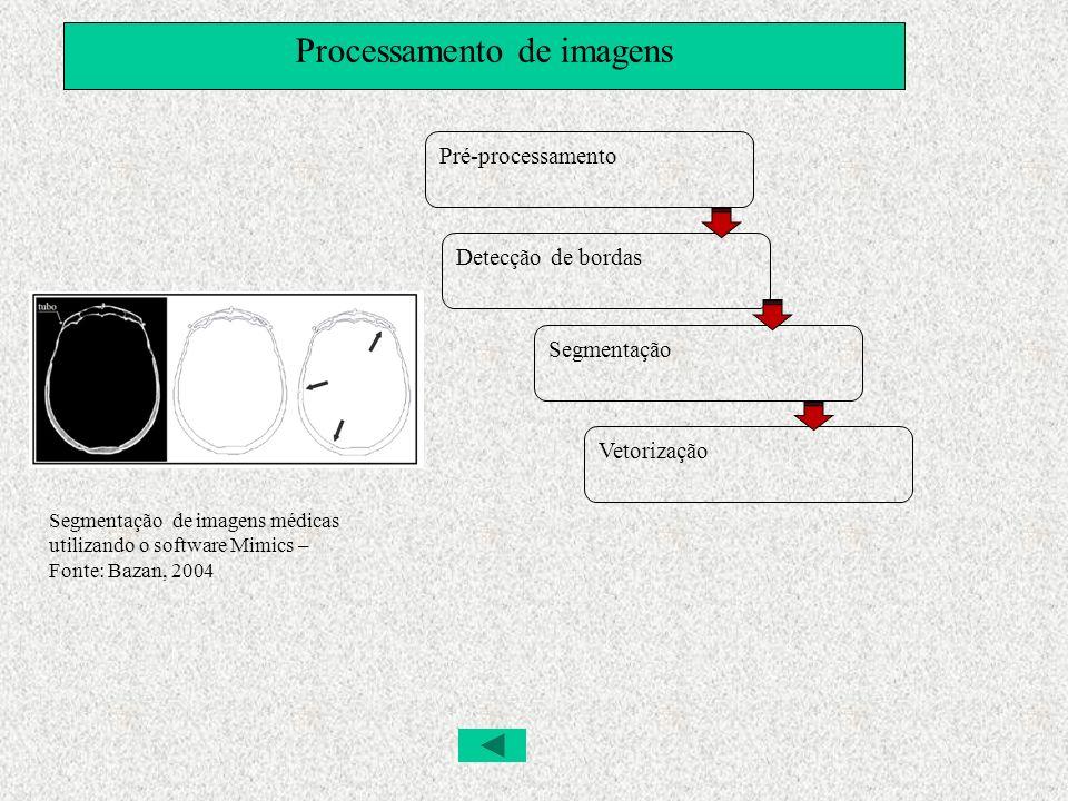 Processamento de imagens Pré-processamento Detecção de bordas Segmentação Vetorização Segmentação de imagens médicas utilizando o software Mimics – Fo