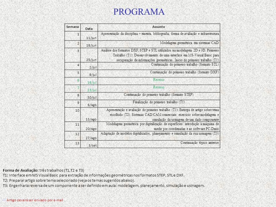 Semana Data Assunto 1 11/jun Apresentação da disciplina – ementa, bibliografia, forma de avaliação e infraestrutura 2 18/jun Modelagem geométrica em s
