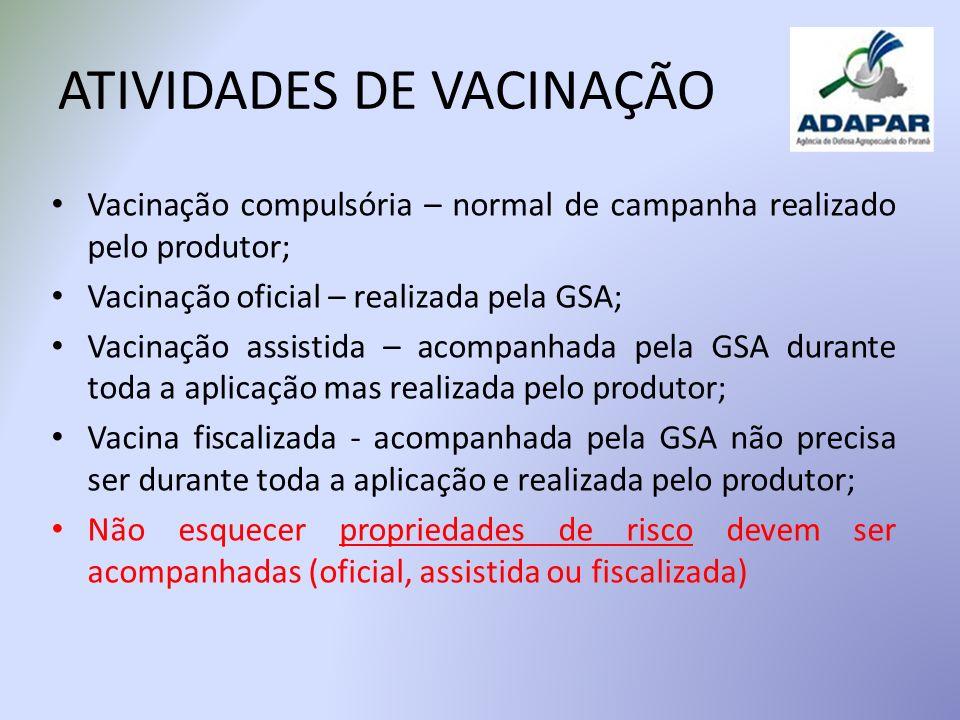 ATIVIDADES DE VACINAÇÃO Vacinação compulsória – normal de campanha realizado pelo produtor; Vacinação oficial – realizada pela GSA; Vacinação assistid
