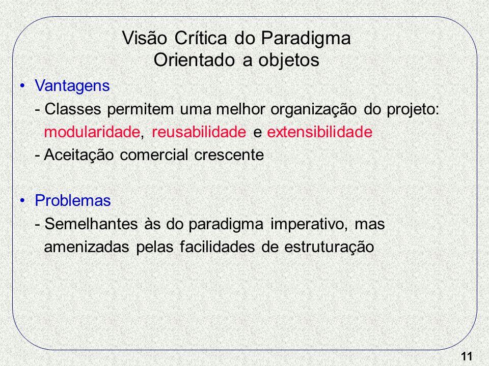11 Visão Crítica do Paradigma Orientado a objetos Vantagens - Classes permitem uma melhor organização do projeto: modularidade, reusabilidade e extens