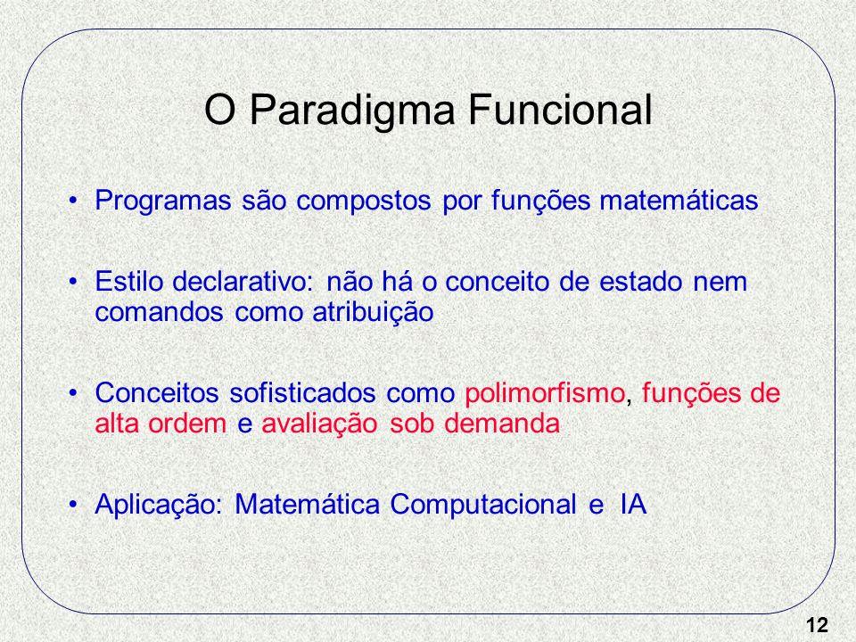 12 O Paradigma Funcional Programas são compostos por funções matemáticas Estilo declarativo: não há o conceito de estado nem comandos como atribuição