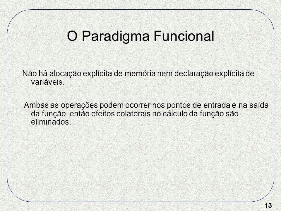 13 O Paradigma Funcional Não há alocação explícita de memória nem declaração explícita de variáveis. Ambas as operações podem ocorrer nos pontos de en
